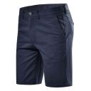 Men's Trendy Shorts Solid Color Zipper Closure Pocket Detail Knee Length Slim Chino Shorts