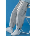 Street Style Pants Plain Color Flap Pockets Ankle Tied Elastic Waist Cropped Relaxed Fit Cargo Pants for Men
