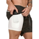 Athletic Drawstring Shorts Camo Pattern Fully Lined Pocket Inside Mid Rise Fitted Mini Shorts for Men