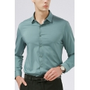 Men Modern Shirt Plain Spread Collar Button-down Long Sleeve Regular Fitted Shirt