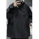 Cool Guys Hoodie Solid Color Long Sleeve Pockets Detail Drawstring Relaxed Fitted Hoodie