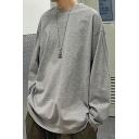 Street Style Guys Sweatshirt Solid Color Long Sleeve Round Collar Loose Pullover Sweatshirt Top