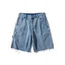 Leisure Men's Shorts Plain Raw Edge Mid Rise Bleach Straight Denim Shorts in Blue