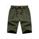 Modern Mens Shorts Solid Color Zipper Pocket Knee Length Drawstring Waist Slim Shorts