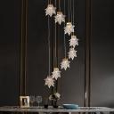 Stylish Modern Maple Leaf Pendant Lamp Acrylic Loft House Multi Light Ceiling Light in Gold