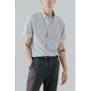 Casual Shirt Stripe Pattern Short-Sleeved Point Collar Button-up Relaxed Fit Shirt Top for Men