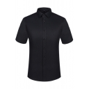 Elegant Button Shirt Solid Color Short Sleeve Point Collar Slim Fitted Shirt for Men
