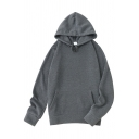 Simple Hoodie Solid Color Front Pocket Long-Sleeved Relaxed Hoodie for Men