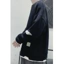 Street Look Men's Sweatshirt and Hoodie Panel Design Long Sleeves Crew Neck Loose Fit Sweatshirt