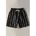 Men's Leisure Shorts Scarf Pattern Drawstring Waist Pocket Detail Relaxed Mini Shorts