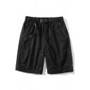 Mens Unique Shorts Solid Color Buckle Belt Top Stitch Detail Loose Straight Shorts