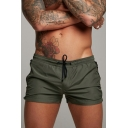 Sporty Shorts Pure Color Drawstring Waist Mid Rise Slim Fitted Mini Shorts for Men