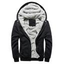 Men Casual Hoodie Pure Color Sherpa Lined Zipper Closure Long Sleeve Loose Fitted Hoodie