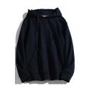 Guys Popular Hoodie Pure Color Kangaroo Pocket Drawstring Long Sleeve Relaxed Fit Hoodie