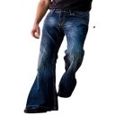 Fashionable Jeans Plain Pocket Detail Flared Leg Relaxed Fit Jeans for Men