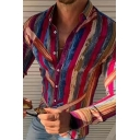 Men Stylish Shirt Stripe Printed Long Sleeve Spread Collar Button-down Slim Fitted Shirt Top