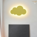 Simple Style Sconce Lamp Cloud Shape Metal LED Wall Light for Kindergarten in 3 Colors Light