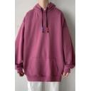 Urban Mens Hoodie Solid Color Pocket Detailed Long Sleeves Loose Fit Hoodie