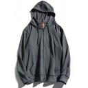 Men's Basic Hoodie Solid Color Long-Sleeved Drawcord Kanga Pocket Relaxed Zipper Hoodie