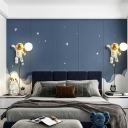 Child Bedroom Astronaut Wall Light 7.5 Inchs Wide Resin Cartoon White LED Sconce Light