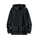 Edgy Men's Hoodie Pure Color Double Pockets Long Sleeve Drawstring Detail Loose Hoodie