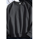 Modern Sweatshirt Plain Long Sleeve Crew Neck Relaxed Fit Pullover Sweatshirt Top for Guys