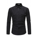 Mens Stylish Shirt Solid Color Chest Pocket Long Sleeve Point Collar Button-up Slim Shirt Top