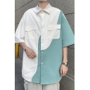 Fashionable Shirt Color Block Button up Turn-down Collar Half Sleeves Oversize Shirt for Men
