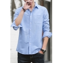 Simple Man's Shirt Pure Color Front Pocket Button up Long-Sleeved Lapel Fitted Shirt