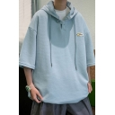 Fashionable Hoodie Solid Color Pull over Half Sleeve Loose Fit Hoodie for Men