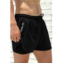 Edgy Mens Shorts Plain Drawstring Waist Zipper Pocket Slim Mini Shorts