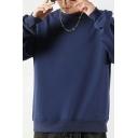 Stylish Sweatshirt Plain Long Sleeve Crew Neck Regular Pullover Sweatshirt for Guys