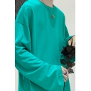 Stylish Mens Sweatshirt Plain Long-Sleeved Round Neck Relaxed Pullover Sweatshirt Top