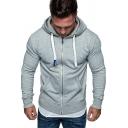 Fashionable Hoodie Solid Color Long-Sleeved Slim Fit Zip up Hoodie for Men