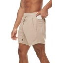 Men Modern Sweat Shorts Solid Color Side Pockets Drawstring Waist Mini Length Slim Fitted Shorts