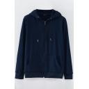 Sporty Mens Hoodie Plain Drawcord Detail Long-Sleeved Kanga Pocket Zipper Closure Loose Hoodie
