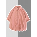 Simple Shirt Plain Button Closure Turn-down Collar Short Sleeves Relaxed Fit Shirt for Men