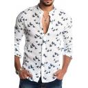 Casual Shirt Button up Bird-Print Long Sleeves Collarless Slim Shirt for Men