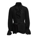 Chic Men's Shirt Plain Flounces Decorated Long-Sleeved Point Collar Slim Fit Shirt Top
