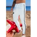 Fashionable Men's Jeans Taped Sides Tied Waist Bleach Ankle Length Slim Fit Jeans