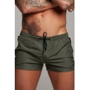 Sporty Shorts Solid Color Drawstring Waist Quick Dry Mid Rise Athletic Shorts for Men