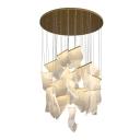 Brass Irregular Pendant Lamp Modernism Acrylic Multiple Hanging Light for Stairway in Warm Light