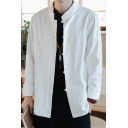 Leisure Men's Shirt Solid Color Stand Collar Long-sleeve Button Closure Regular Fit Shirt