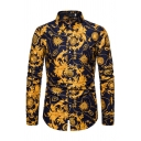 Trendy Shirt All over Floral Printed Stand Collar Long Sleeve Button-down Slim Fit Shirt for Men