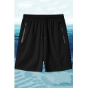 Mens Sporty Shorts Contrast Line Drawstring Waist Zip-up Pocket Knee Length Loose Shorts