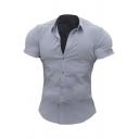Men Cool Shirt Plain Spread Collar Button up Short Sleeve Slim Fitted Shirt