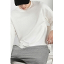 Basic Sweatshirt Solid Color Long Sleeve Crew Neck Fitted Pullover Sweatshirt Top for Men