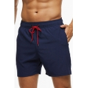 Sports Shorts Solid Color Drawstring Design Mid Waist Relaxed Fit Shorts for Men