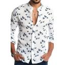 Men Fancy Shirt Seagull All Over Printed Long Sleeve Collarless Button Closure Regular Fitted Shirt Top