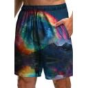 Creative Drawstring Shorts Galaxy Pattern Pocket Detail Mid Rise Loose Shorts for Men